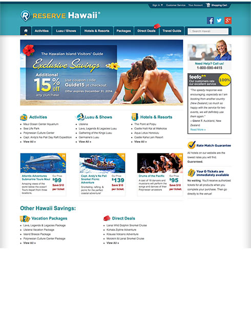 Hawaii Vacation Reservations landing page