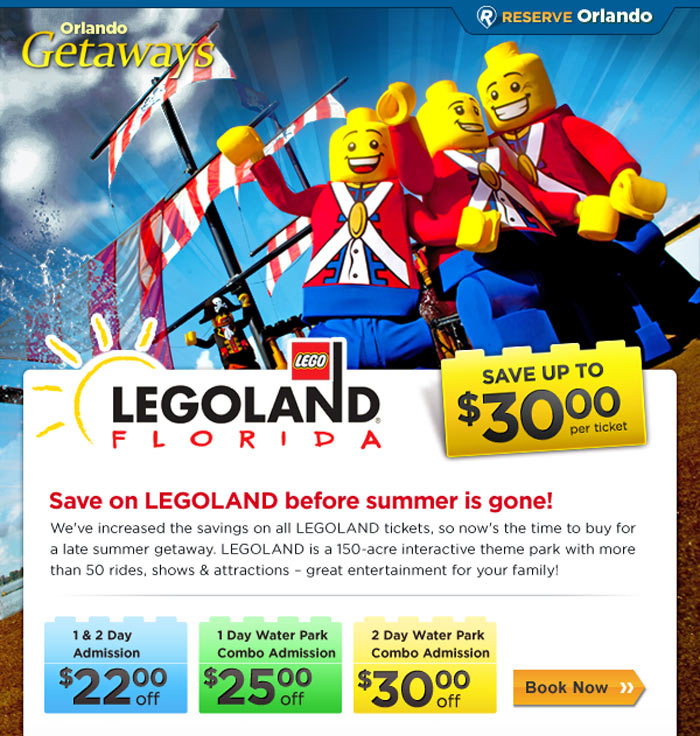 Legoland Florida tickets email campaign