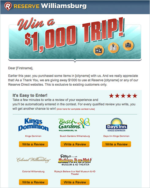 Win a $1000 Trip Promotion